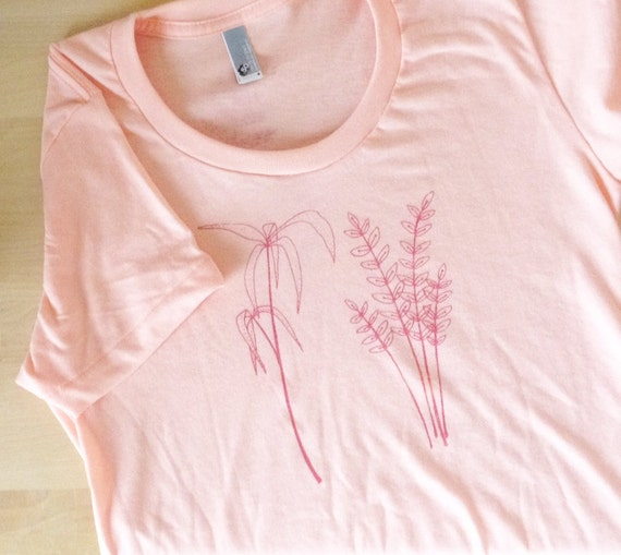 Plant cuttings shirt - apricot and coral (women's L)