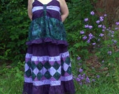 Purple and Green Seminole Hippie Patchwork Skirt and Top PLUS SIZE