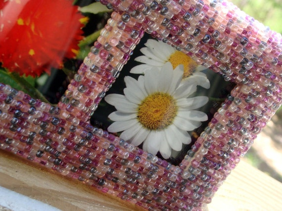 3X3 Beaded Picture Frame - Pink and Purple