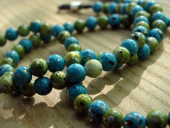 Handmade Eyeglass Chain - Green and Turquoise