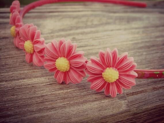 REDUCED - Bright Pink Sunflower Headband