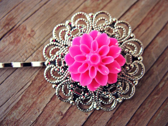 REDUCED - Silver Plated Pink Chrysanthemum Hair Pins - Set of 2