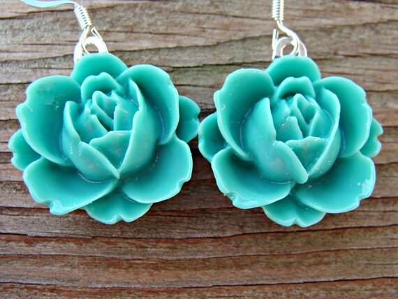REDUCED Peony Flower Dangle Earrings - Seafoam Green