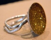 Big Ring in Sterling ,Gold glitter and resin