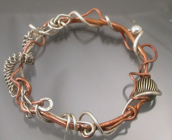 Bangle - Copper and Sterling Silver by Isajul