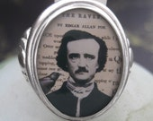 Edgar A. Poe and The Raven Sterling Silver Ring (Sizes 5-10 w/ half sizes)