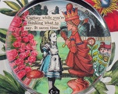 Alice and The Red Queen Glass Round Paperweight