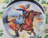Cowgirl on Galloping Horse  Glass Round Paperweight tartx