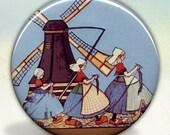 Dutch Girls Knitting Pocket Mirror tartx
