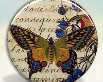 Butterfly with Flowers Pocket Mirror