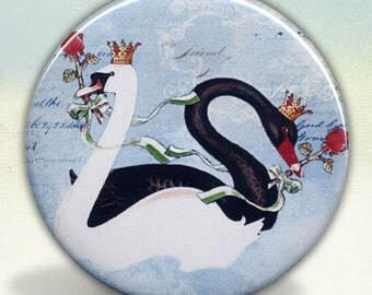 The Black and White Swans pocket mirror tartx