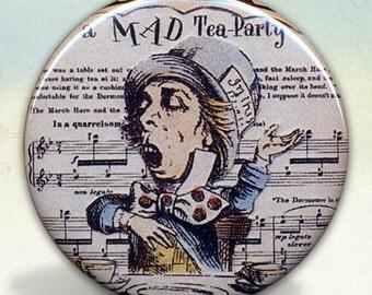 Mad Hatter Alice Wonderland Pocket Mirror
