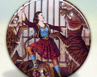 Female Lion Tamer  Pocket Mirror