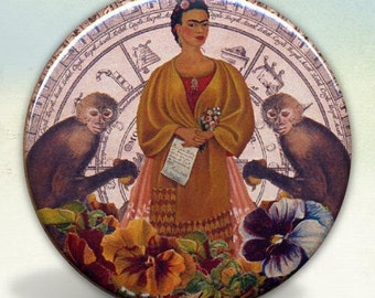 Frida with the Two Monkeys pocket mirror tartx