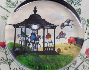 Carousel Americana Glass Round Paperweight tartx