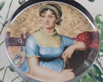 Jane Austen Glass Round Paperweight tartx