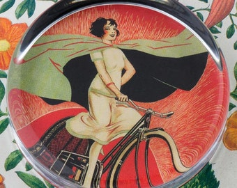 Onyx Bicycle Girl Glass Round Paperweight tartx