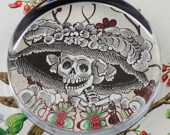 Posada Calavera Catrina Glass Round Paperweight tartx