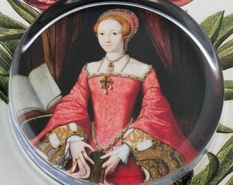 The Princess Elizabeth Tudor I  Glass Round Paperweight tartx