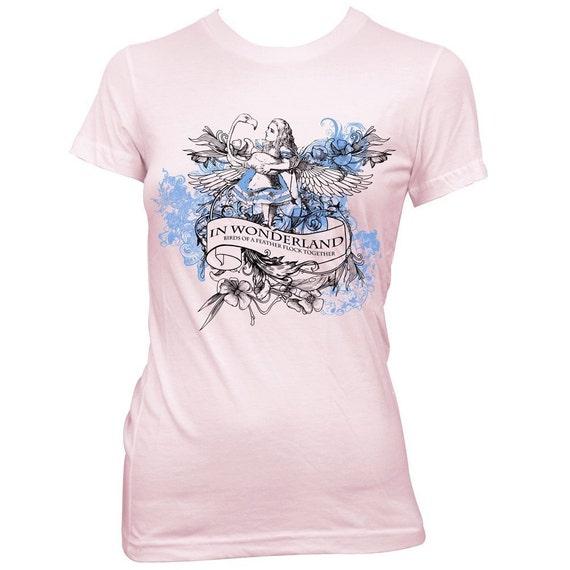 Alice in Wonderland Flamingo Birds of a Feather T-shirt tartx - SALE
