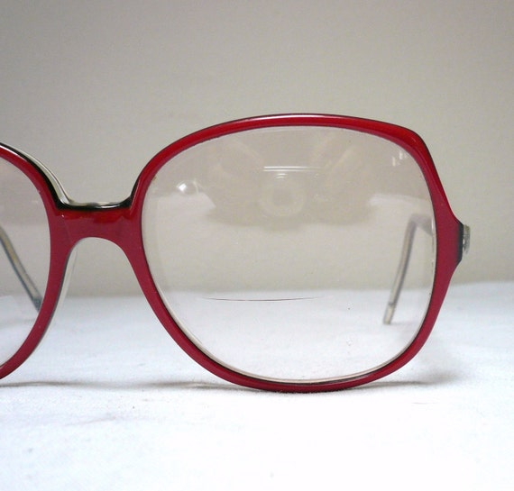 Big Red Frame Glasses : SALLY JESSE RAPHAEL EYEGLASSES // Big Red Vintage 1980s Frames