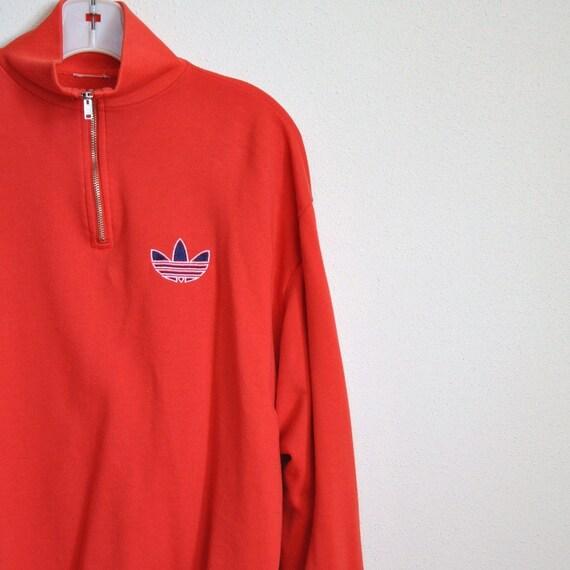 retro red adidas sweatshirt vintage 80s sportswear pullover. Black Bedroom Furniture Sets. Home Design Ideas