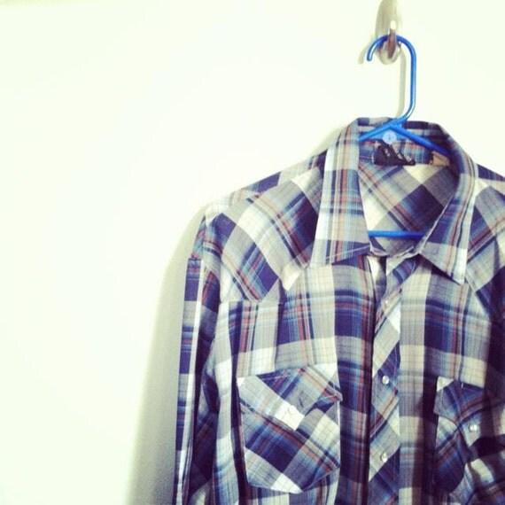 Vintage WESTERN PEARL SNAP Cowboy Shirt / Mens Sz XLarge