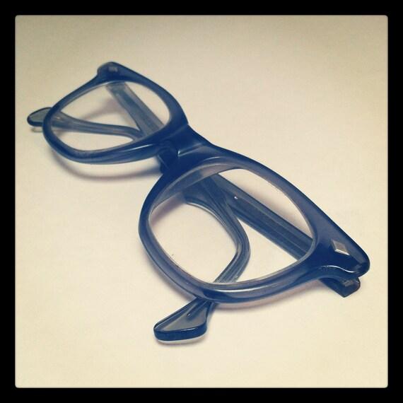 Vintage MOD 60s ROCKABILLY EYEGLASSES / Retro Gray Frames / Horn rimmed Wayfarer Safety Glasses