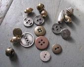 Metallic Button and Bead Destash - 18 pcs