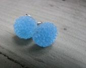 Tiny Ice Blue Dahlia Earrings