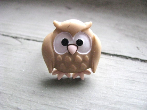 Cute Tan Owl Brass Ring