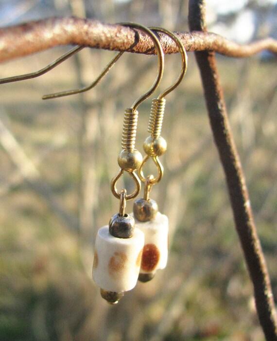 African Cream Polka Dot Earrings