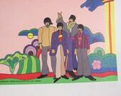 Vintage Beatles Yellow Submarine POP ART Lithograph Print