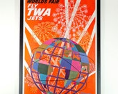 "Vintage RARE ""Fly TWA Jets"" David Klein New York World's Fair Unisphere POSTER - Archival Museum Frame"