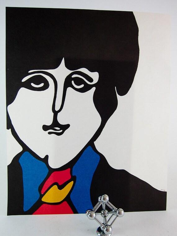 Vintage Beatles Yellow Submarine POP ART Lithograph Print - Paul McCartney