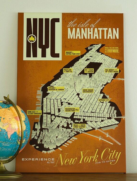 New York City Map NYC Manhattan Poster Canvas Art Print - 24 x 36