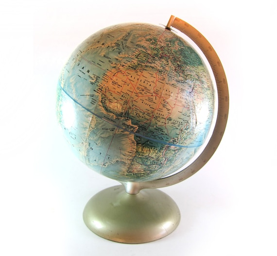 Vintage Mid Century Rand McNally 12 inch World Portrait Globe with Brushed Chrome Stand