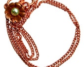 18 Inch Copper Wildflower Necklace with Mint Green Freshwater Pearl  (Number 1)