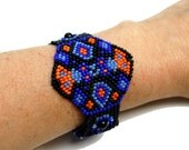 "Geometric Beadwoven Bracelet in Blue, Black, and Orange ""Diamondback"""