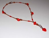 Reserved for Robin  - Red Heart Girlfriend Necklace with Coral, Copper, and Pearls