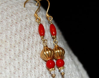 White Pearl and Red Coral Long Dangle Vermeil Earrings
