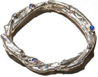 PMC Bracelet, Fine Silver, Woodgrain Textured, Bezel Set, Opal Bracelet,  Budding Vine, (Number 4)