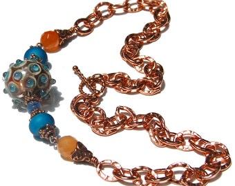 Copper Necklace, Copper Chain, Carnelian Beaded, Kyanite Beaded,  Azure Blue, Lampwork Focal