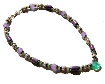 Purple, Pink, and Green Gemstone Beaded Necklace