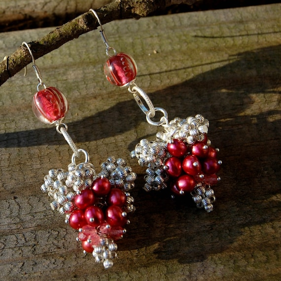 Pearl Cluster Earrings - Cranberry Colored Pearls, Lampwork & Sterling Silver