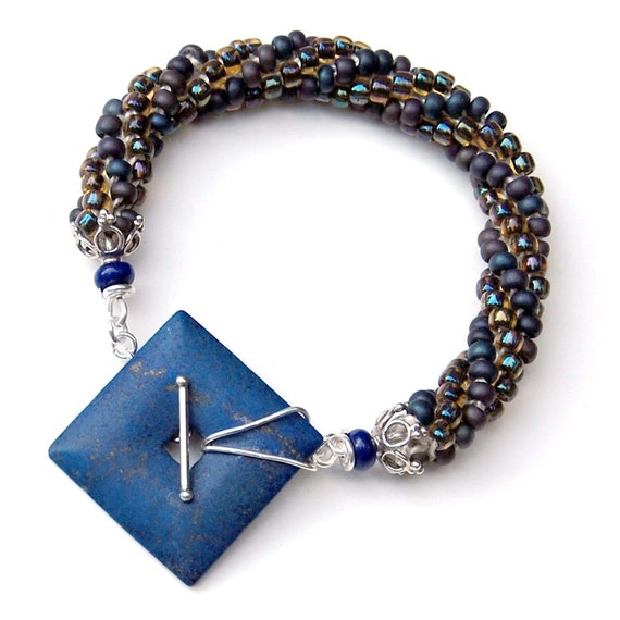 Top Quality Blue Lapis & Bead Crochet Bracelet