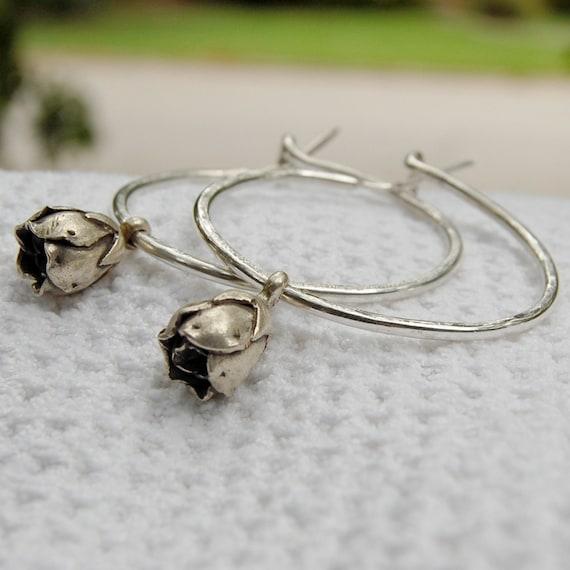 Fine Silver Hand Wrought Hoop Earrings