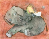 PRINT - Fairy and Stuffed Elephant