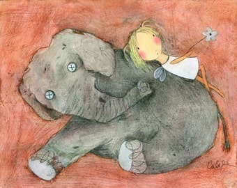 PRINT - Fairy and Stuffed Elephant