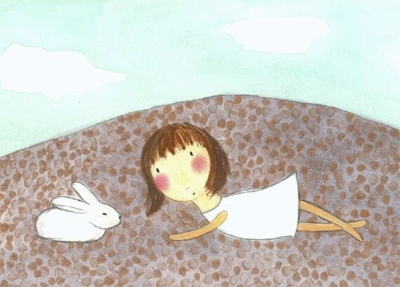 PRINT - Girl with White Bunny